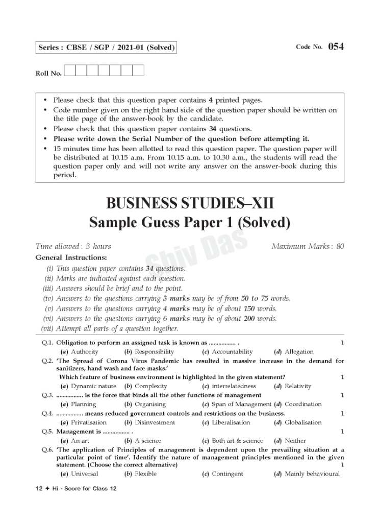 CBSE 2021 Pattern HI SCORE Board Sample Guess Papers for Class 12 Business Studies