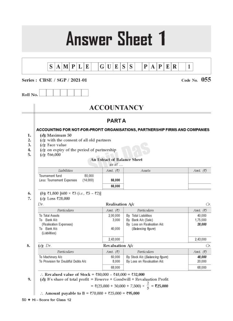CBSE 2021 Pattern HI SCORE Board Sample Guess Papers for Class 12 Accountancy