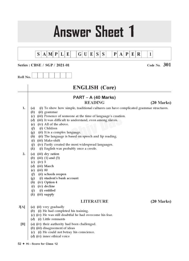 CBSE 2021 Pattern HI SCORE Board Sample Guess Papers for Class 12 English Core