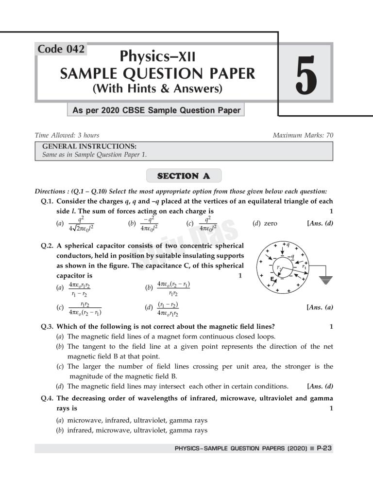 Shivdas CBSE Chapterwise and Markswise Board Exam Question Bank with Latest MCQ's for Class 12 Physics (2021 Reduced Edition)