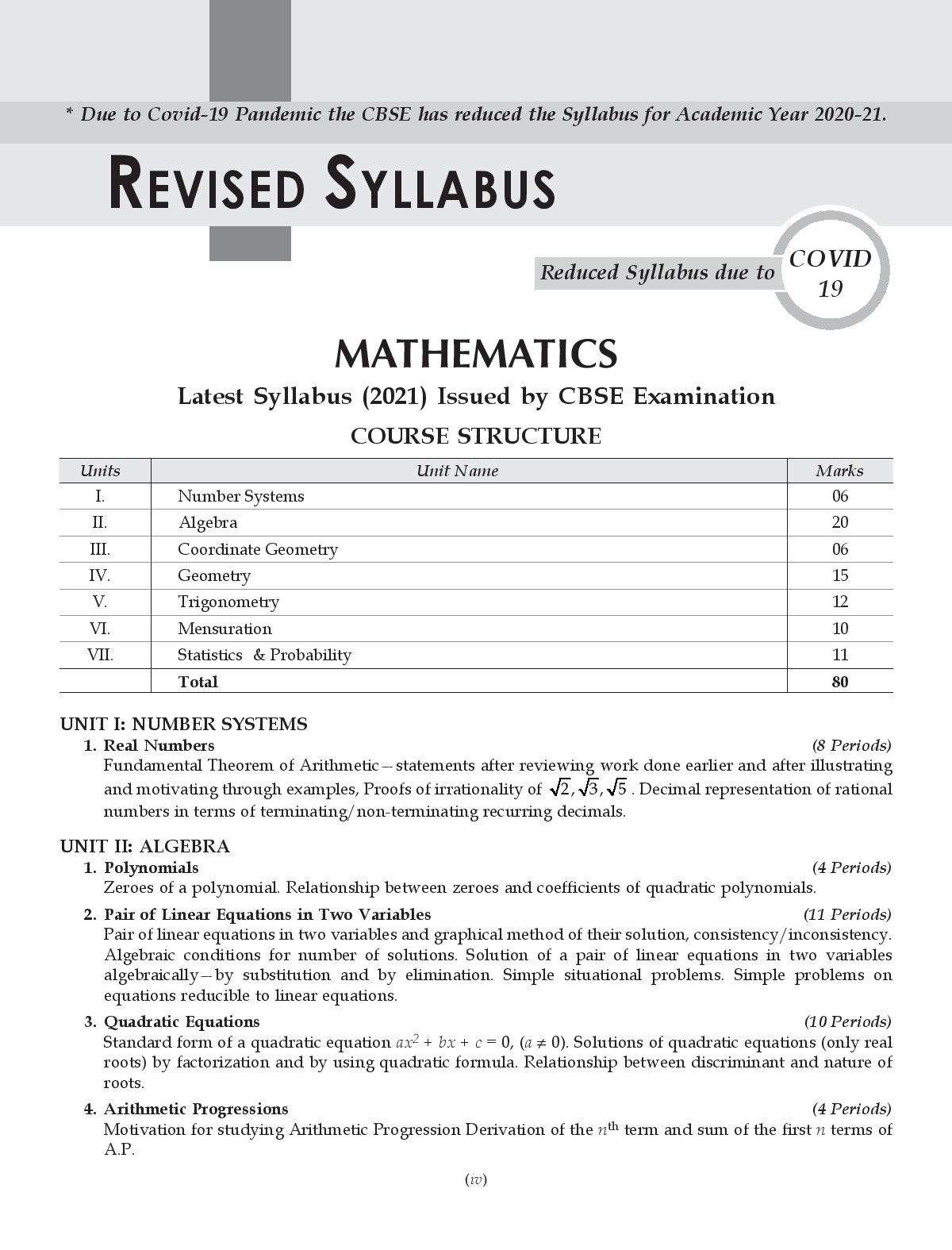 Shivdas CBSE Chapterwise and Markswise Board Exam Question Bank with Latest MCQ's for Class 10 Mathematics (STANDARD) (2021 Reduced Edition)