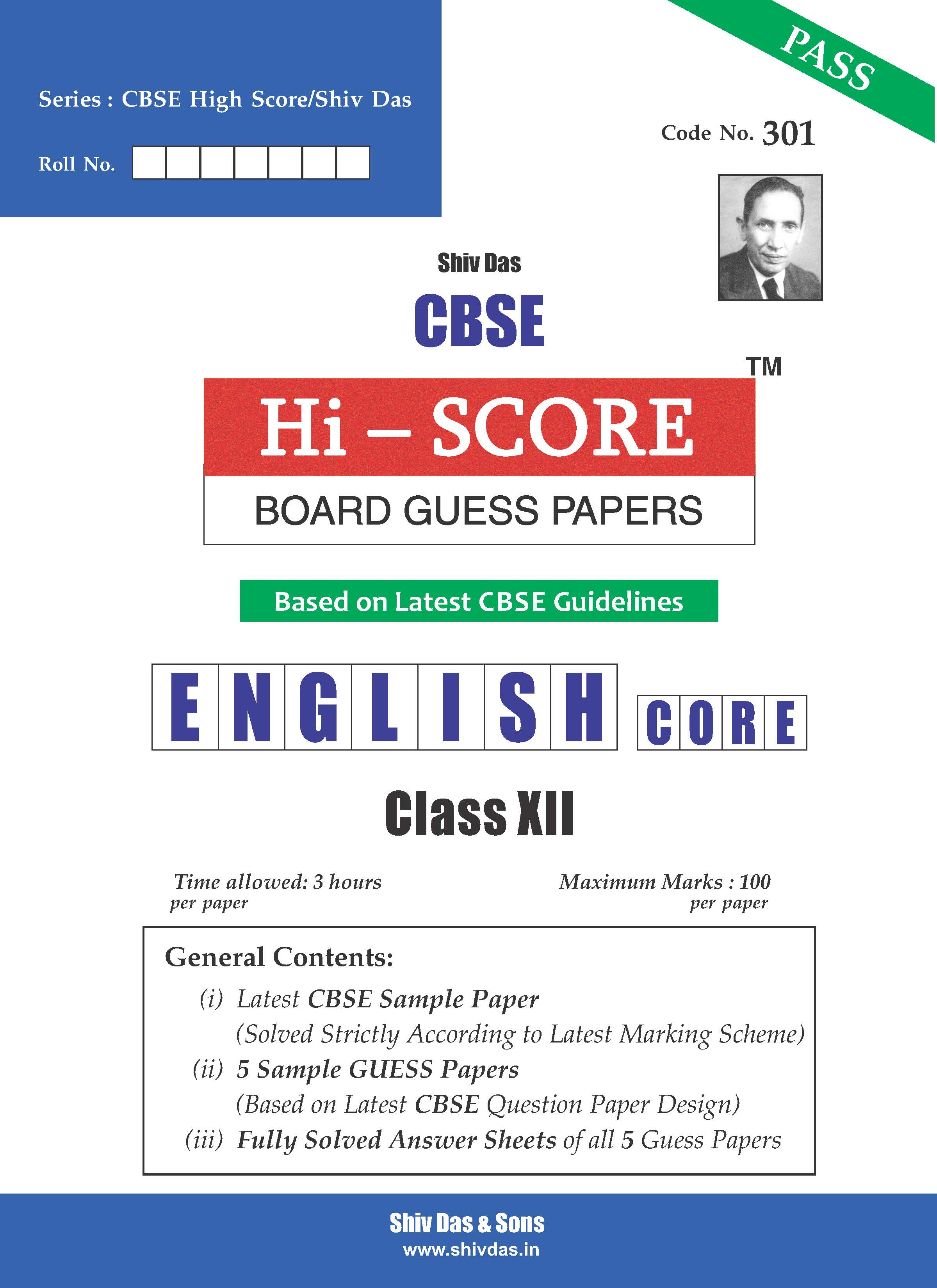CBSE Hi Score Board Guess Papers for Class 12 English Core