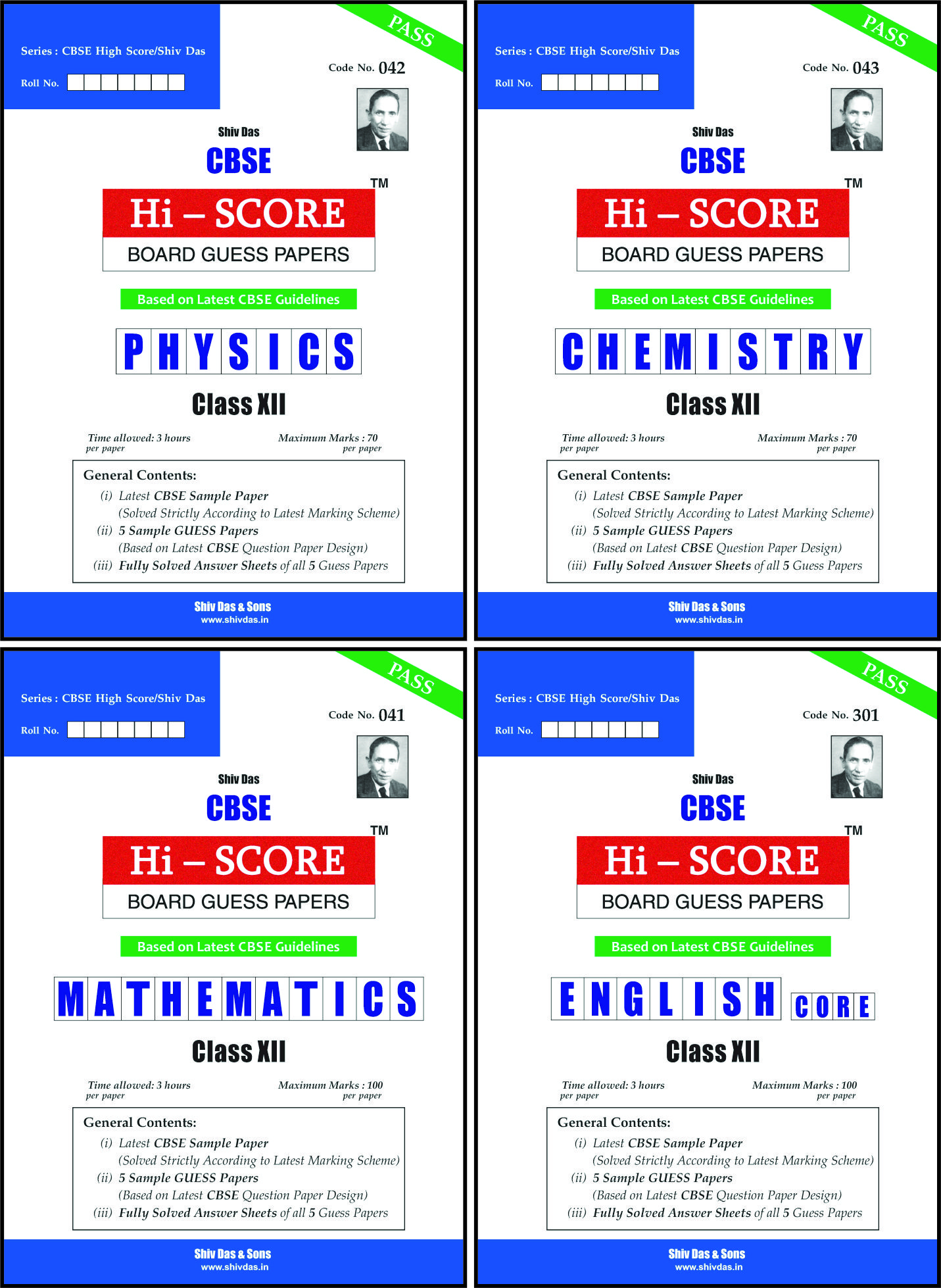 CBSE Hi Score Board Guess Papers Pack of 4 for Class 12 Physics Chemistry Mathematics English