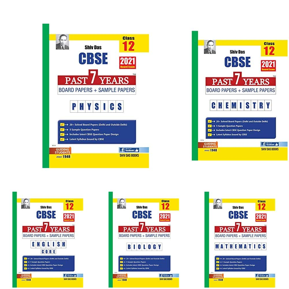 CBSE Past 7 Years Board Papers and Sample Papers for Class 12 (May 2021 Exam) (Reduced Syllabus) - Physics, Chemistry, Maths, Biology, Eng Core (Pack of 5 Books)