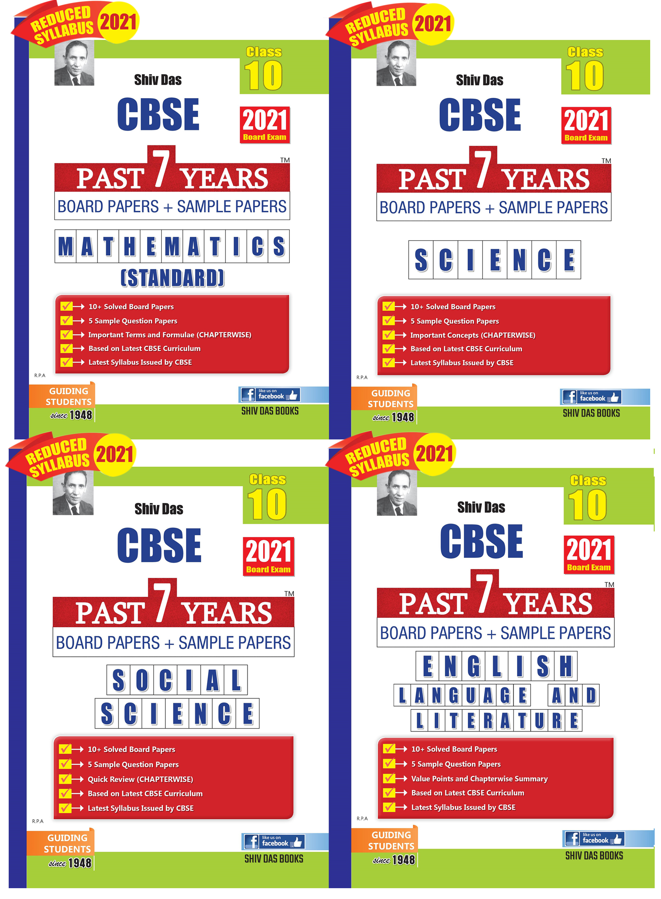 Shivdas CBSE Past 7 Years Solved Board Papers and Sample Papers Combo Pack for Class 10 Maths Science Social Science English Language and Literature (2021 Reduced Edition)