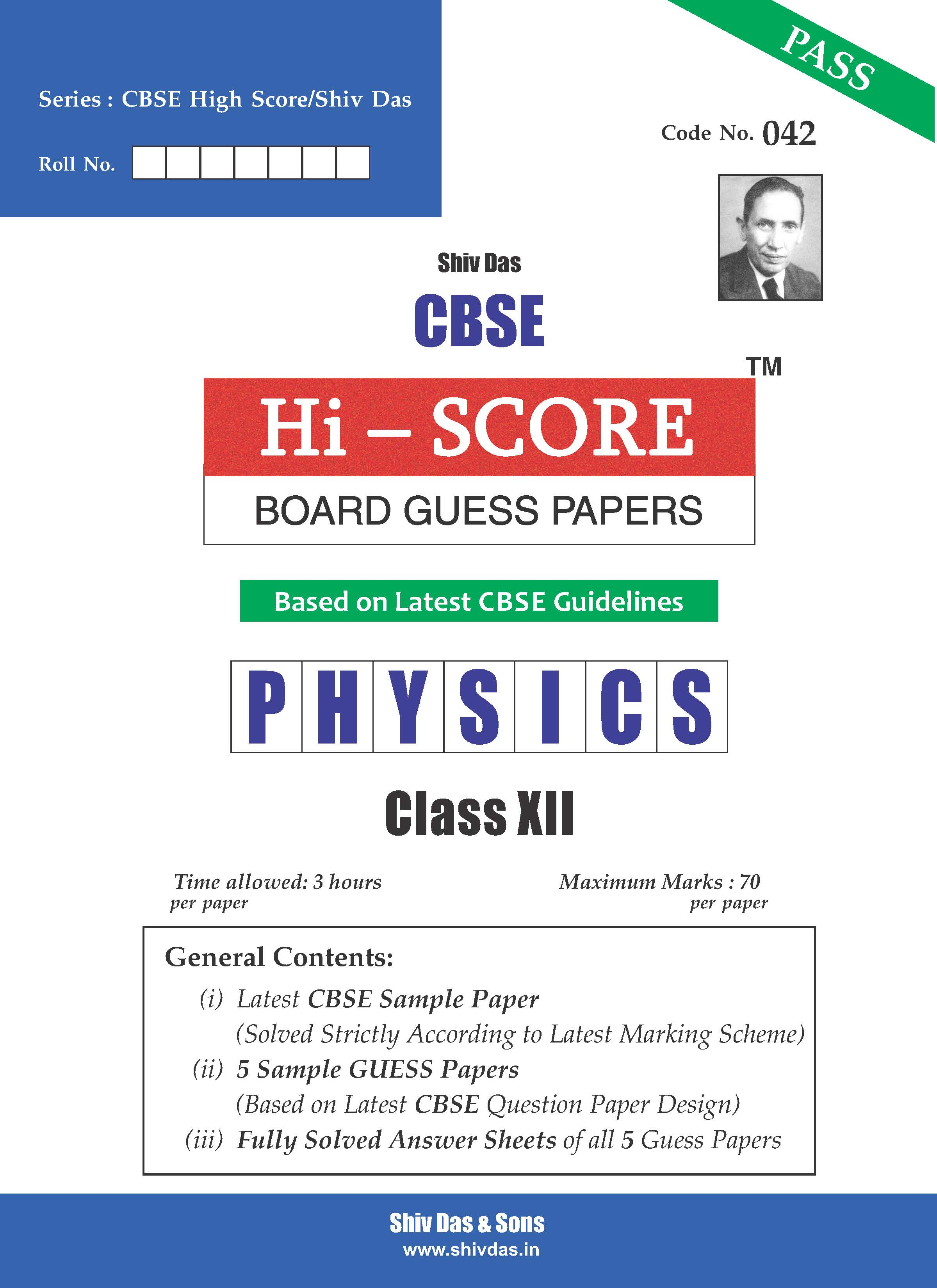 CBSE Hi Score Board Guess Papers for Class 12 Physics