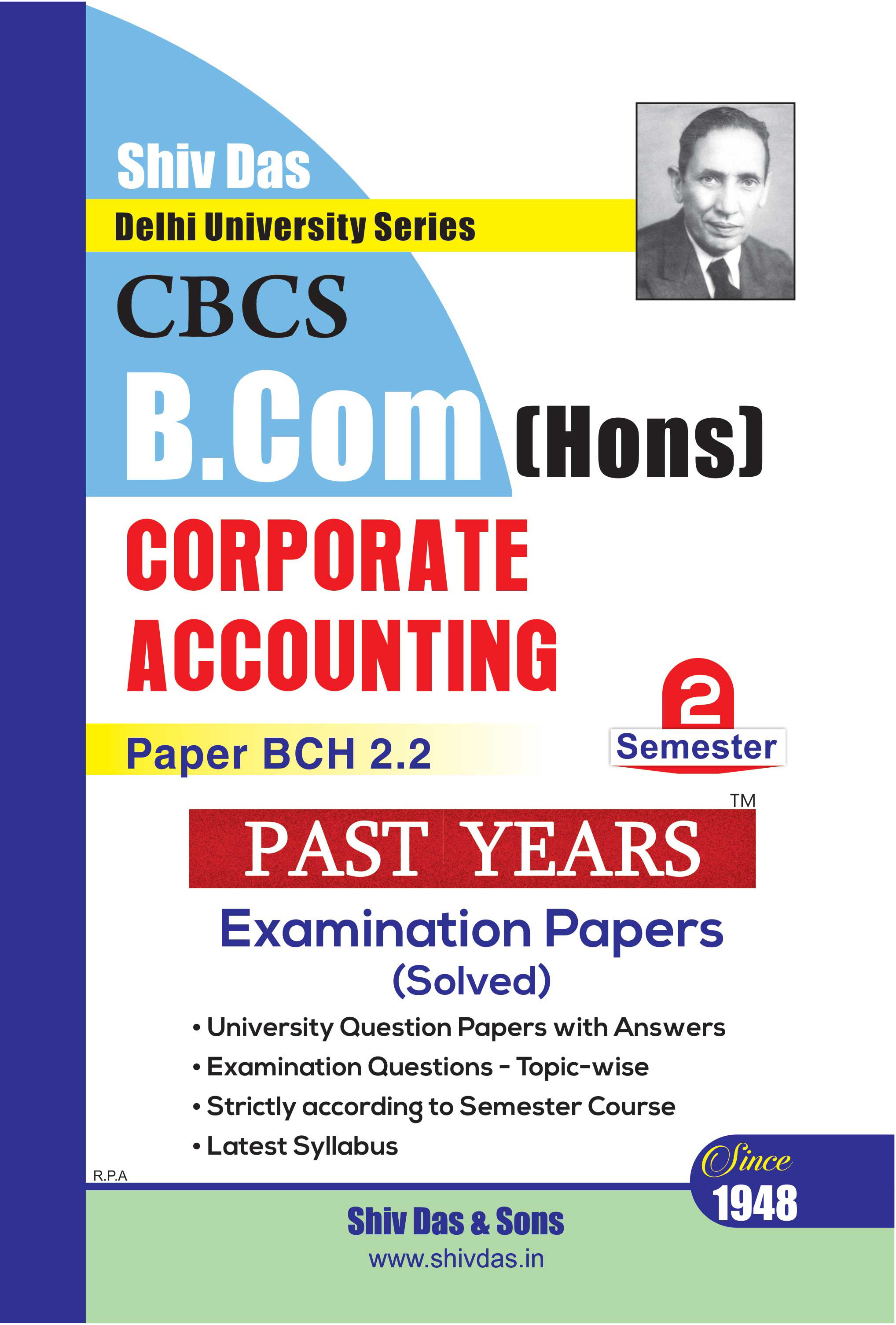 Corporate Accounting for B.Com Hons Semester-2 for Delhi University by Shiv Das