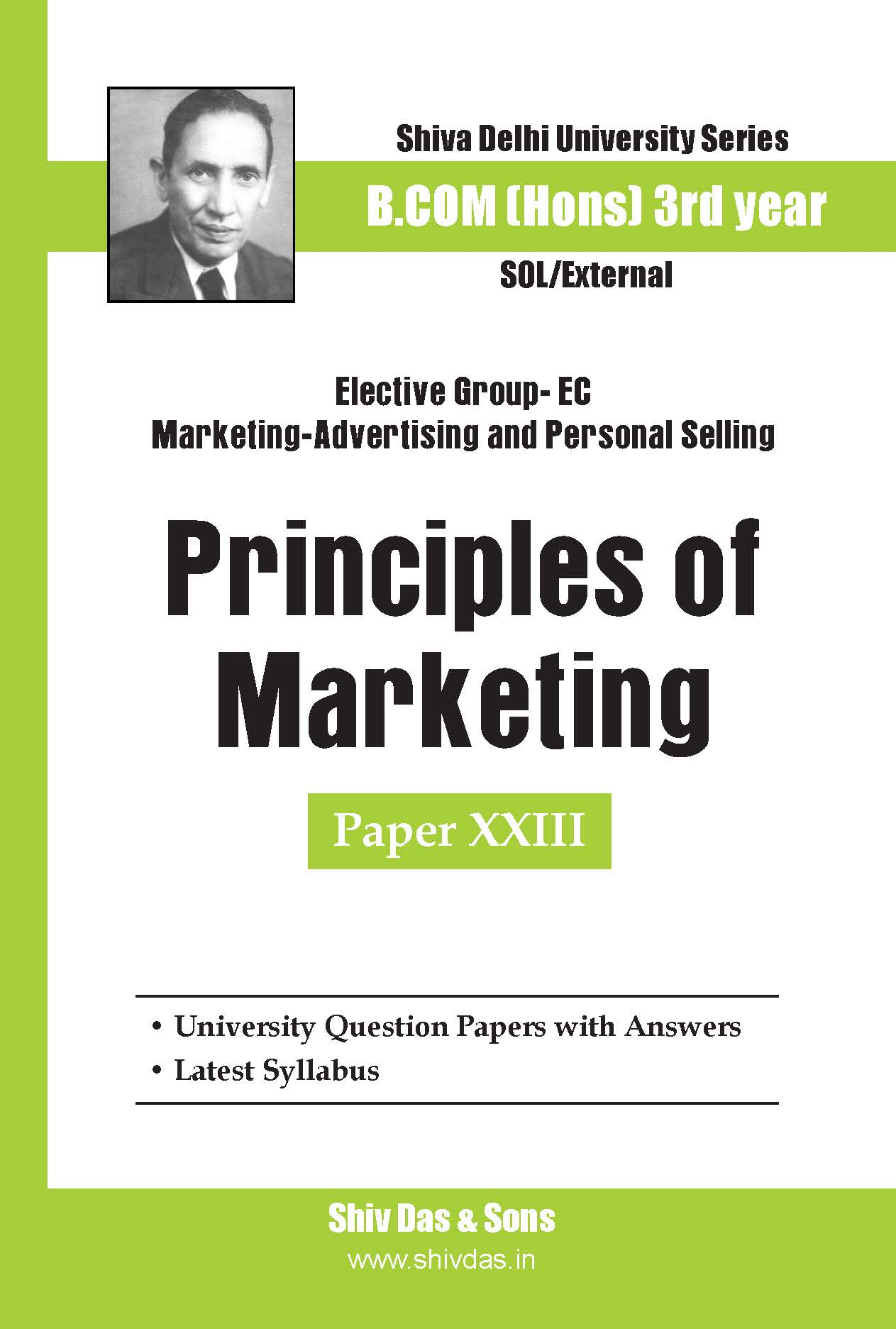 B.Com Hons-SOL/External-3rd Year-Principles of Marketing-Shiv Das-Delhi University Series