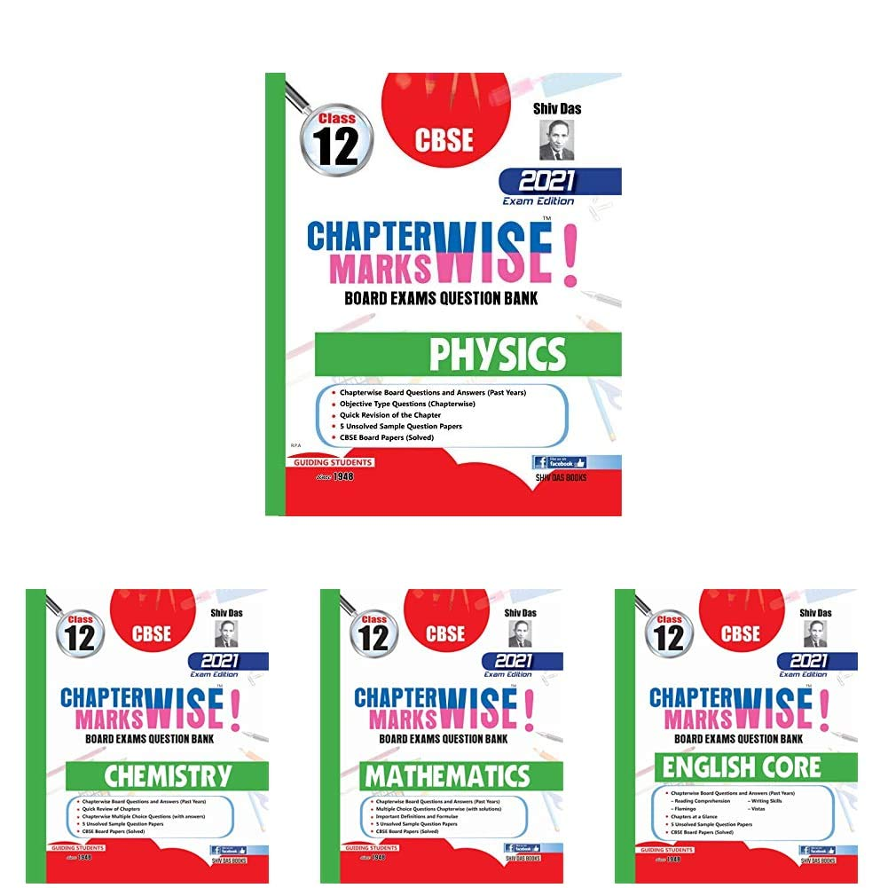 CBSE Chapterwise and Markswise Board Exams Question Bank for Class 12 (May 2021 Exam) (Reduced Syllabus) – Physics, Chemistry, Maths and Eng Core (Set of 4 Books)