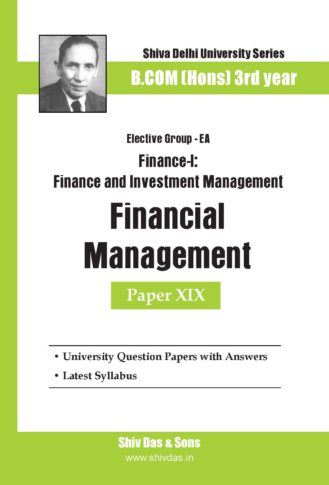 B.Com Hons-SOL/External-3rd Year-Financial Management-Shiv Das-Delhi University Series