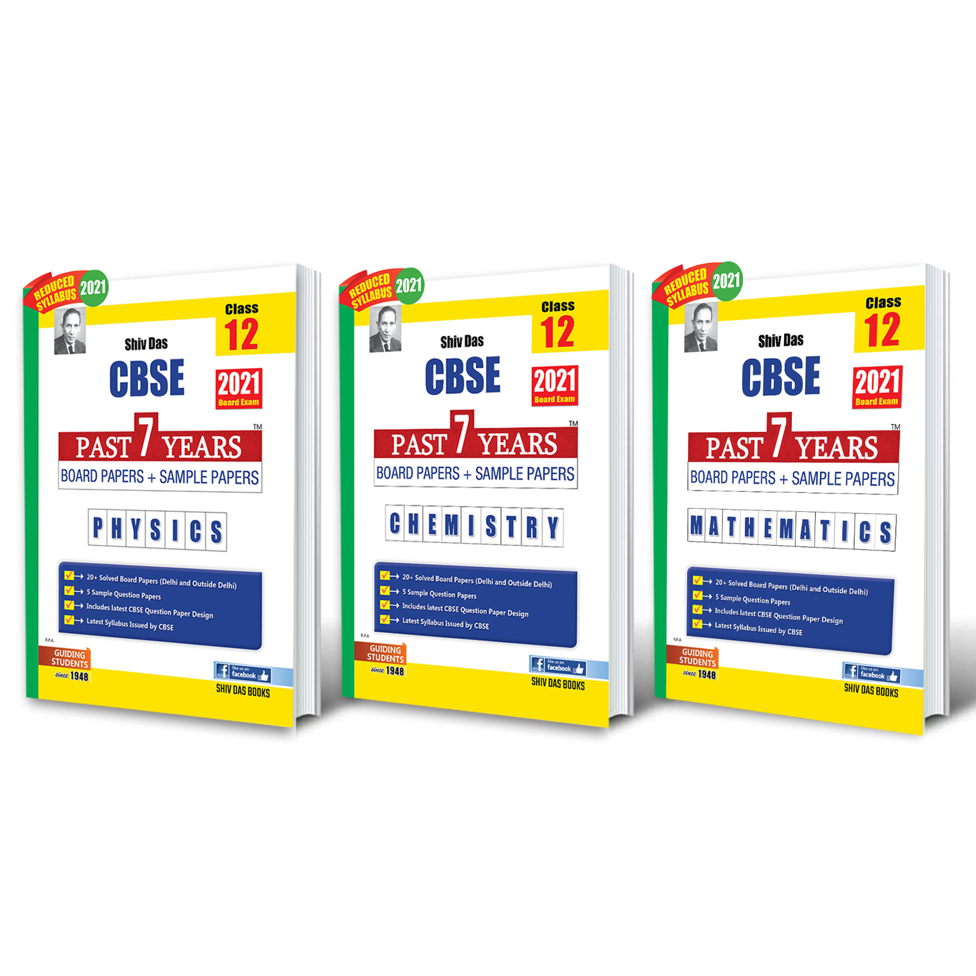 Shivdas CBSE Past 7 Years Boards Papers and Sample Papers for Class 12 Science Stream Pack of 3 Physics Chemistry Mathematics (As per 2021 CBSE Reduced Syllabus)