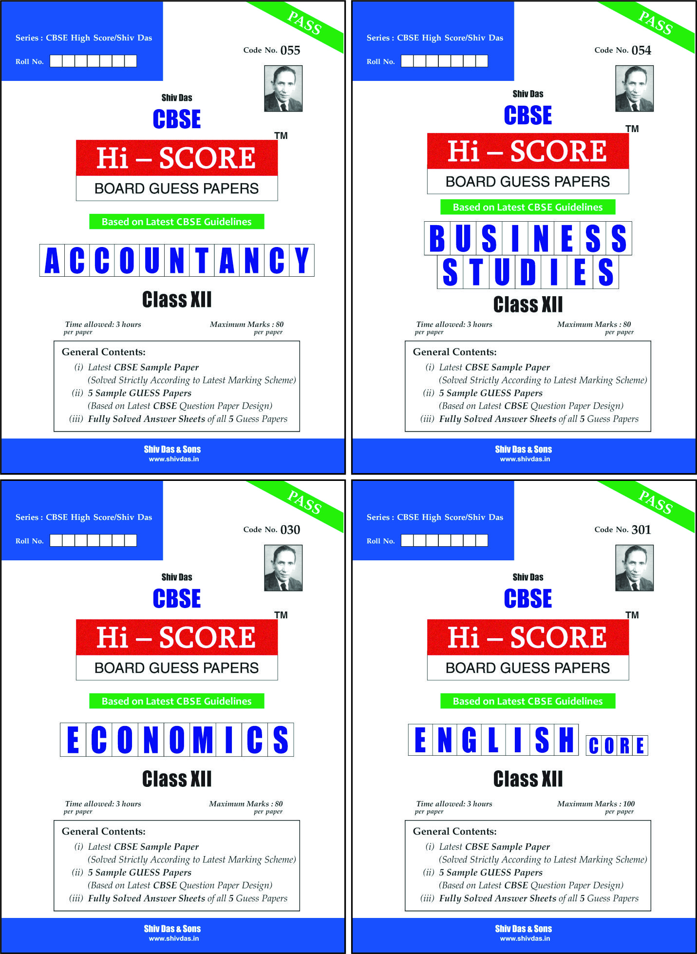 CBSE Hi Score Board Guess Papers Pack of 4 for Class 12 Accountancy Economics Business Studies English Core