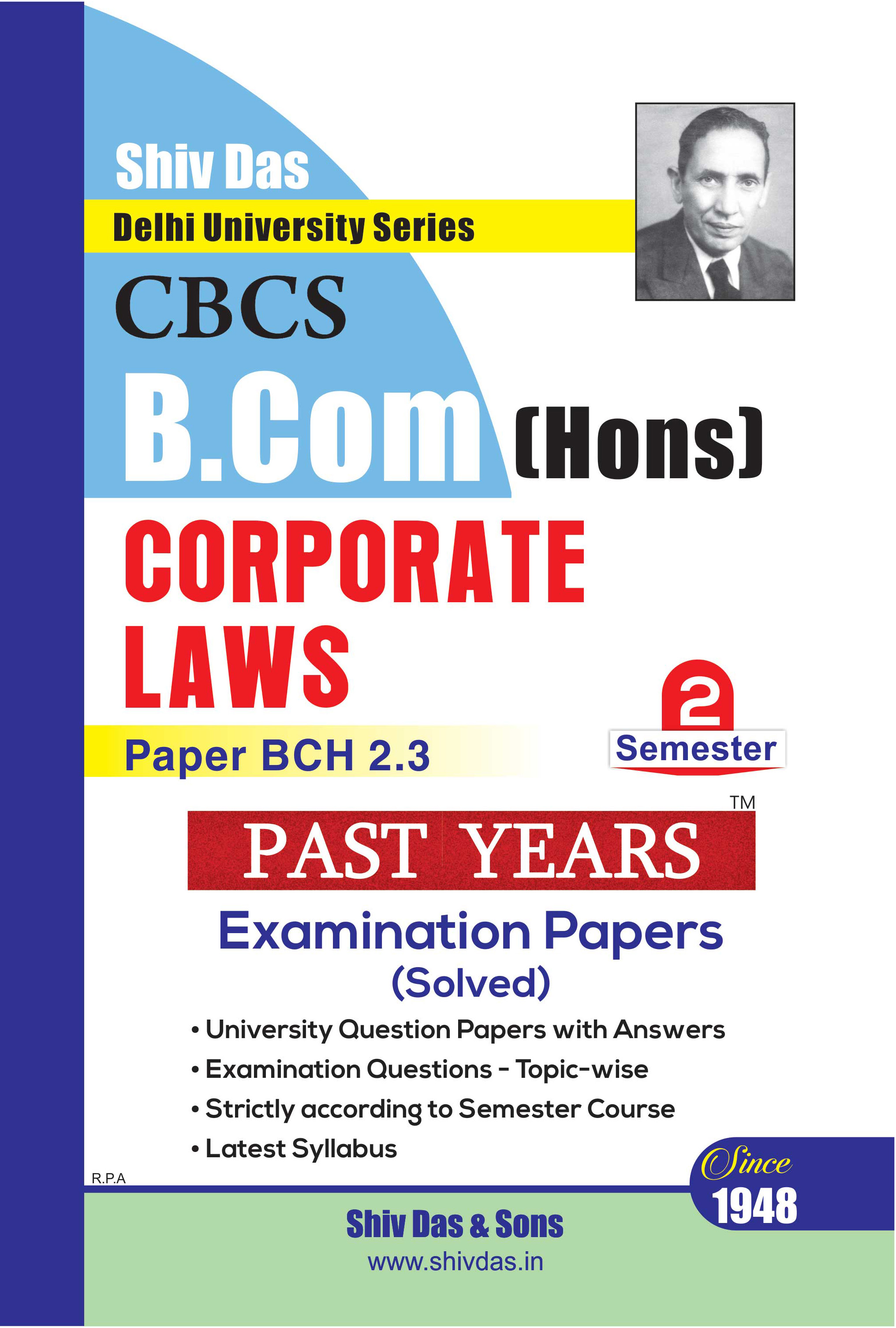 Corporate Laws for B.Com Hons Semester 2 for Delhi University by Shiv Das