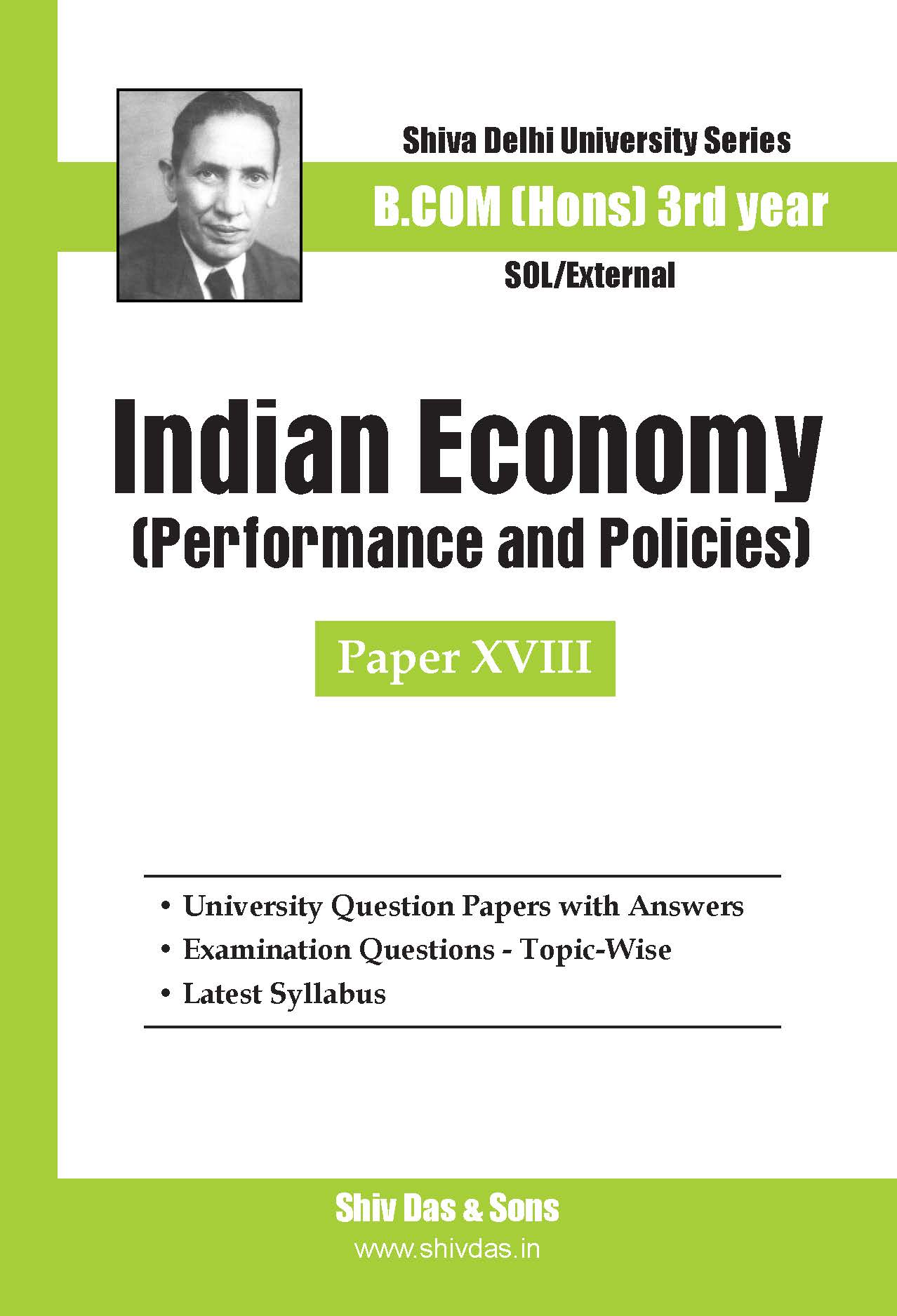 B.Com Hons-SOL/External-3rd Year-Indian Economy-Shiv Das-Delhi University Series