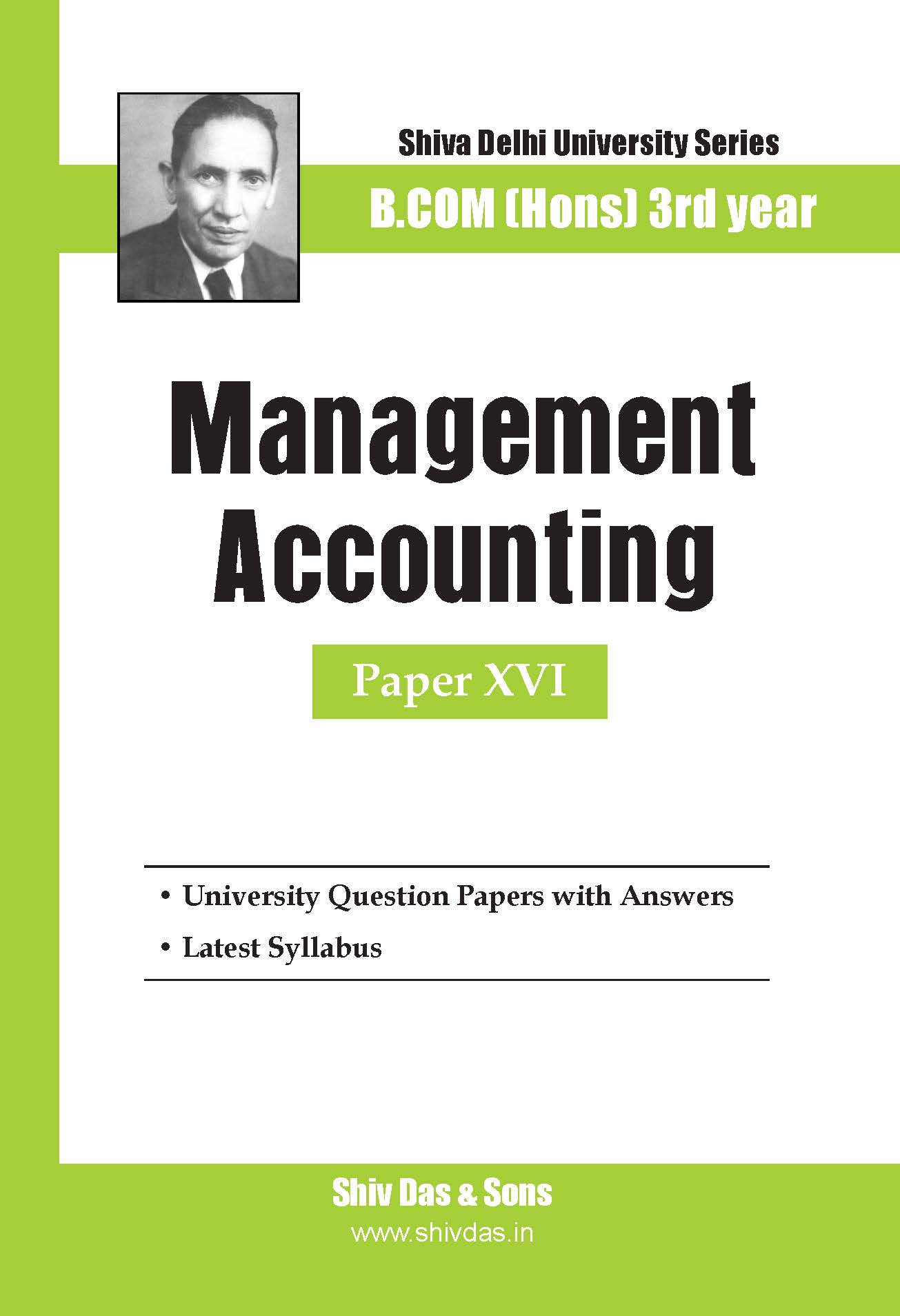B.Com Hons-SOL/External-3rd Year-Management Accounting-Shiv Das-Delhi University Series