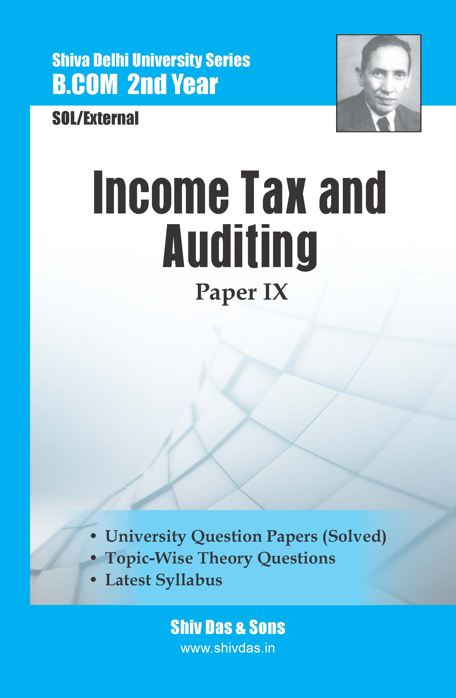 B.Com 2nd Year SOL/External Income Tax and Auditing (Hindi Medium) Shiv Das Delhi University Series