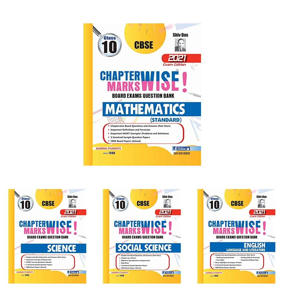 CBSE Chapterwise and Markswise Board Exams Question Bank for Class 10 (May 2021 Exam) – Maths (Standard), Science, Social Science, English Lang and Lit (Set of 4 Books)